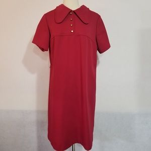 1950s Unlabeled Red Double Knit Poly Dress